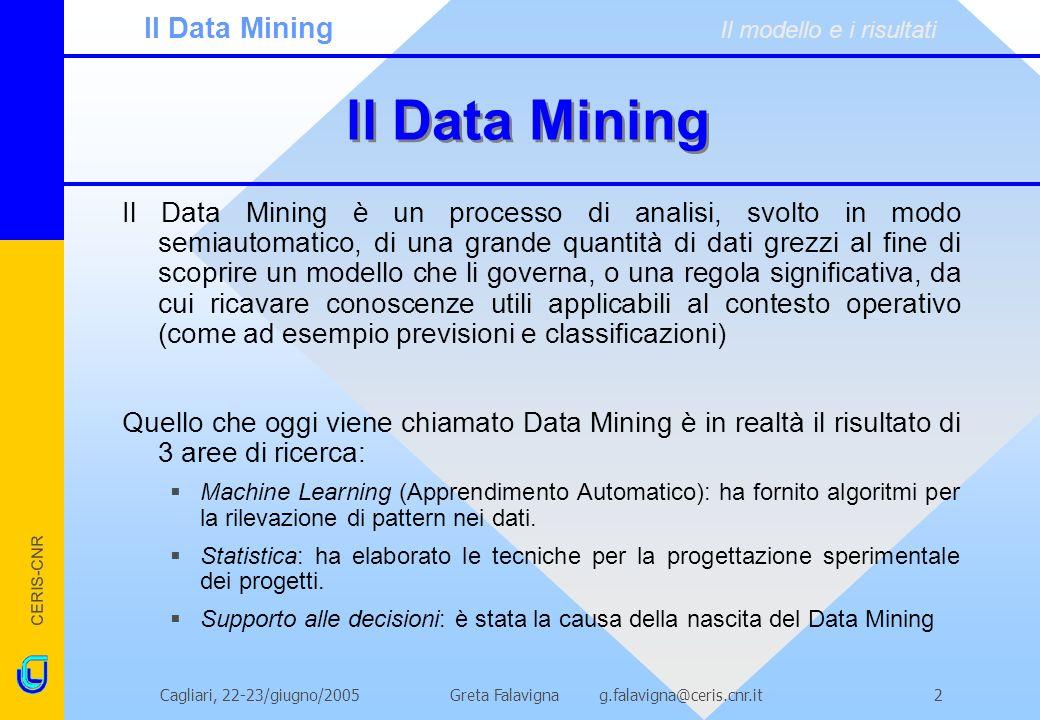 ll Data Mining Il Data Mining Il modello e i risultati