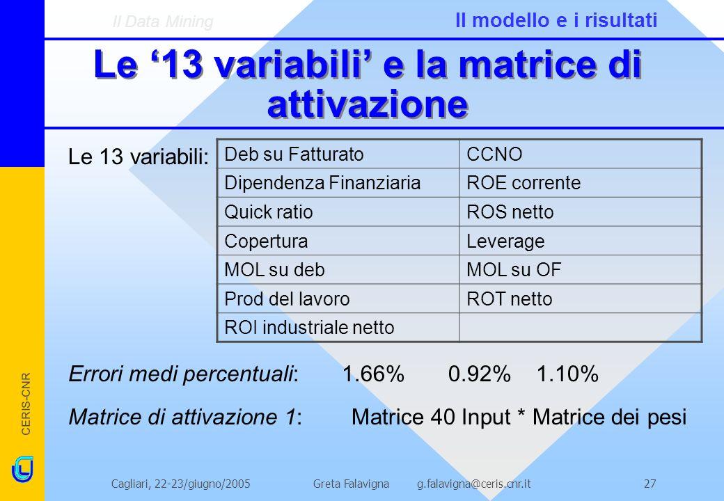 Le '13 variabili' e la matrice di attivazione