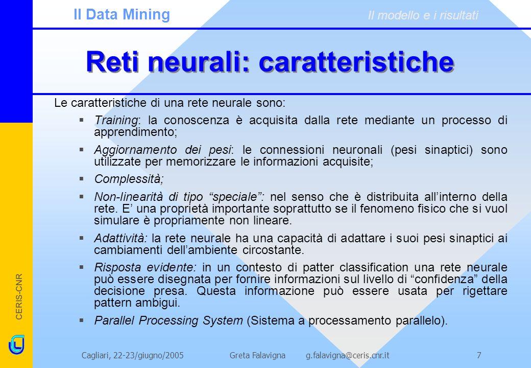Reti neurali: caratteristiche