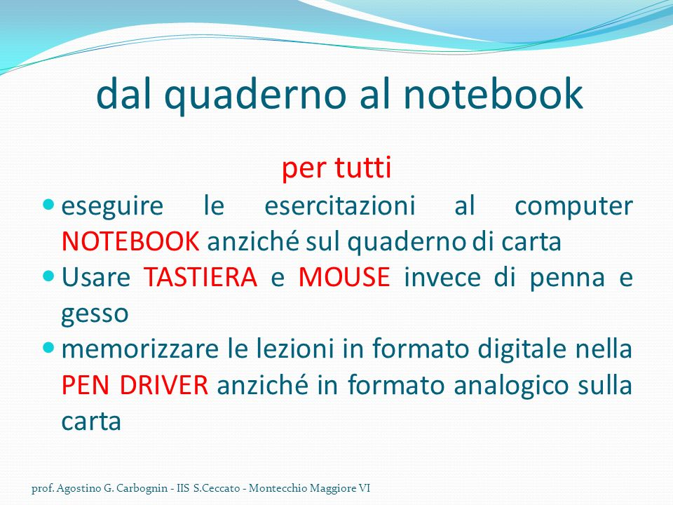dal quaderno al notebook