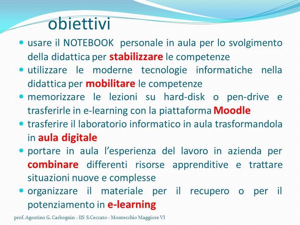 obiettivi usare il NOTEBOOK personale in aula per lo svolgimento della didattica per stabilizzare le competenze.
