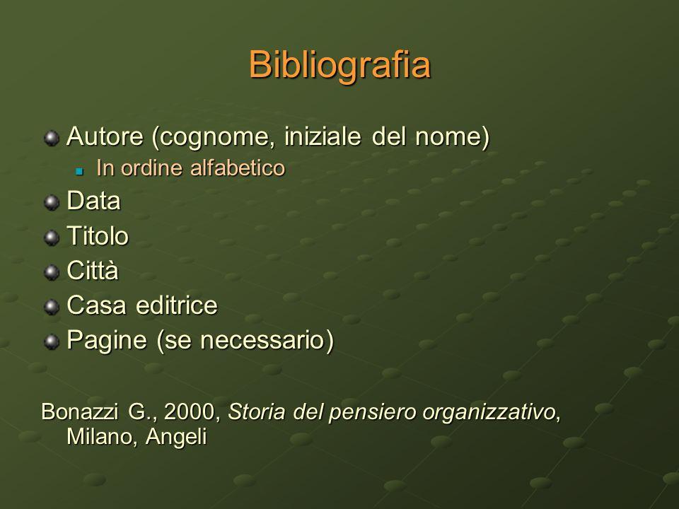 Bibliografia Autore (cognome, iniziale del nome) Data Titolo Città