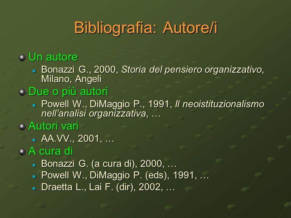 Bibliografia: Autore/i