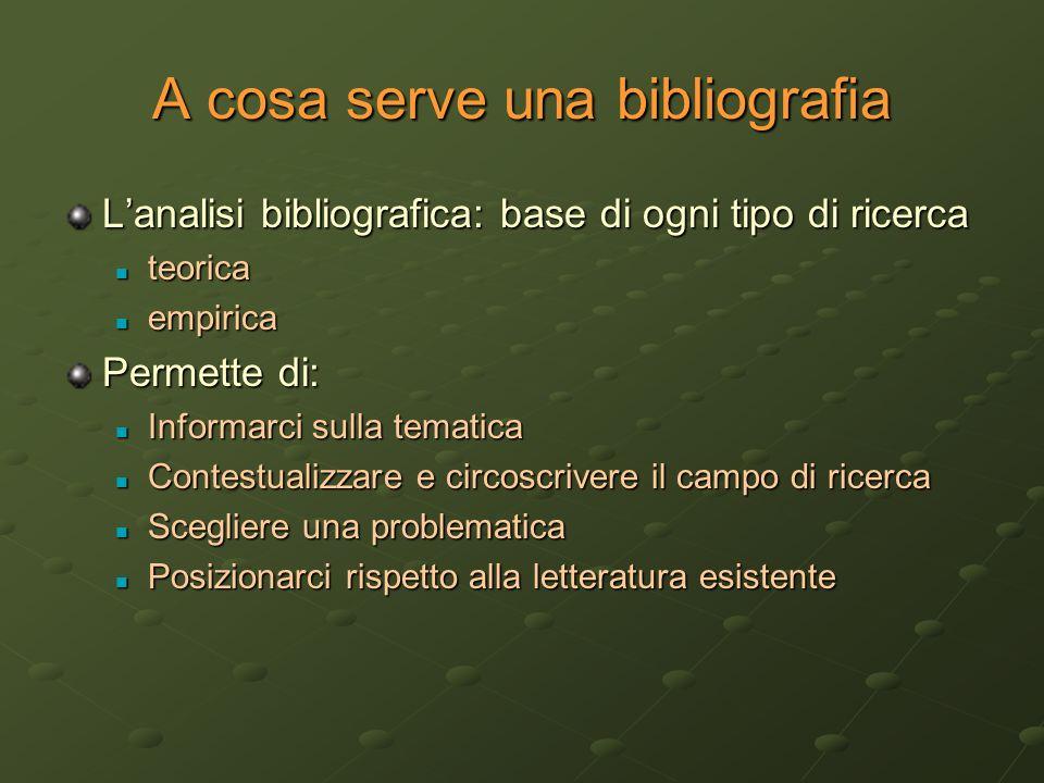 A cosa serve una bibliografia