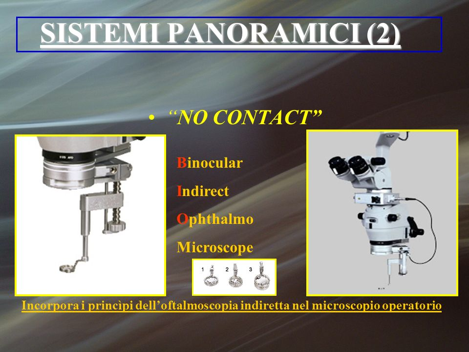 SISTEMI PANORAMICI (2) NO CONTACT Binocular Indirect Ophthalmo