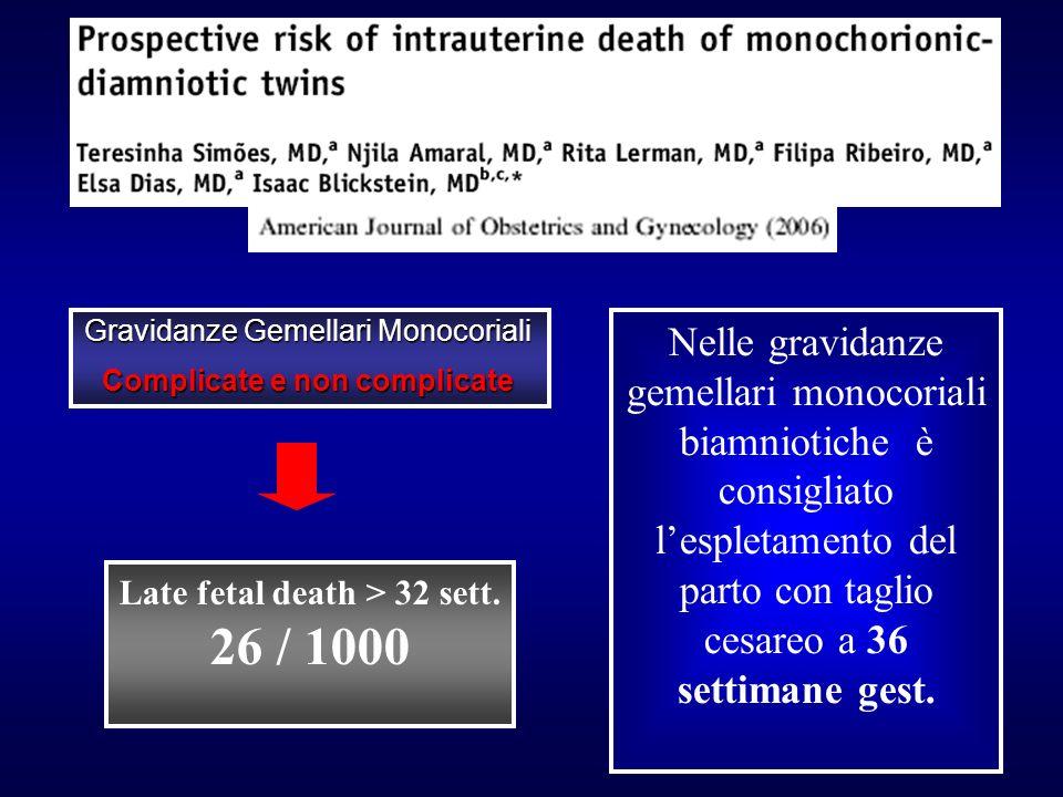 Complicate e non complicate Late fetal death > 32 sett.