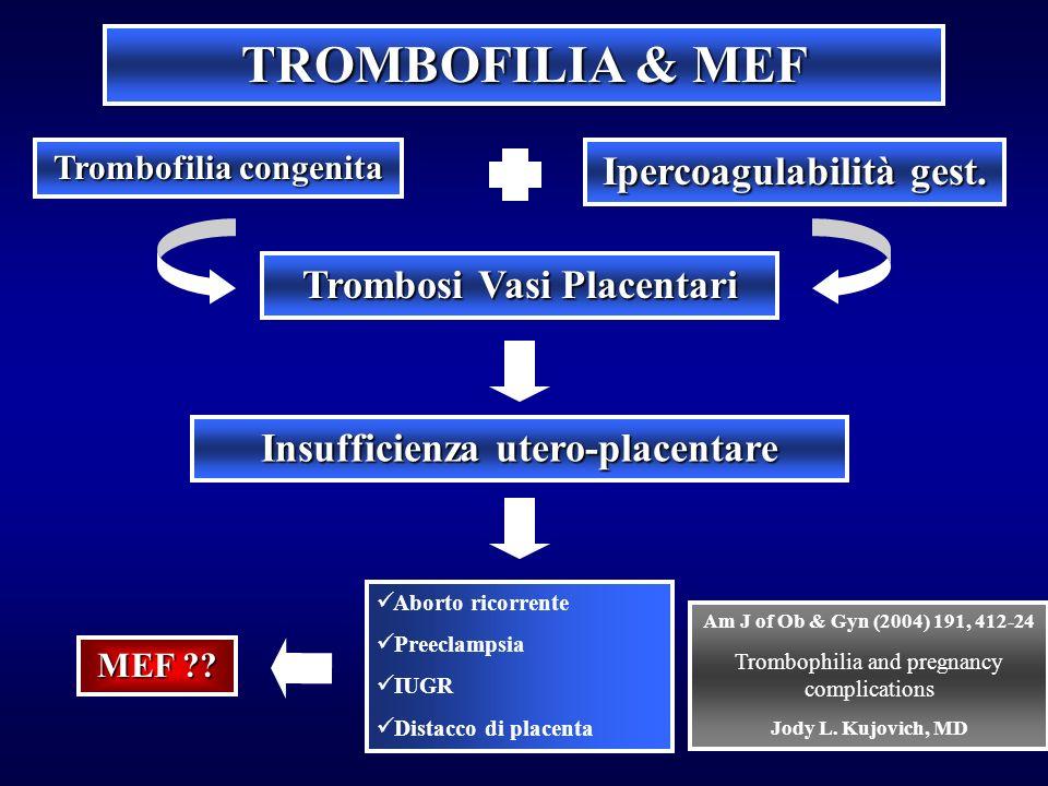 TROMBOFILIA & MEF Ipercoagulabilità gest. Trombosi Vasi Placentari