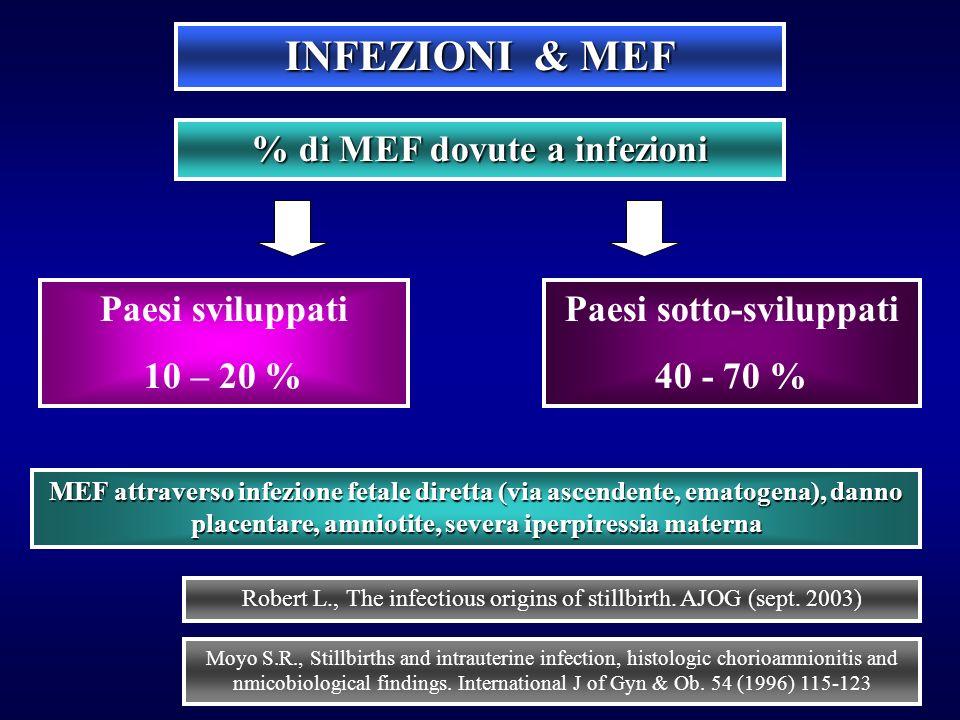 % di MEF dovute a infezioni Paesi sotto-sviluppati