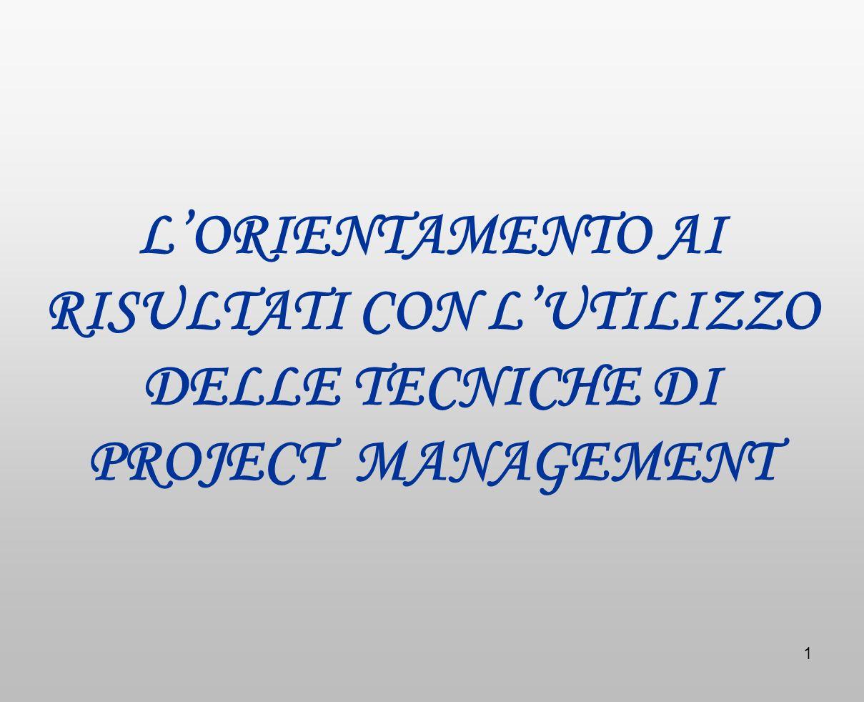 L'ORIENTAMENTO AI RISULTATI CON L'UTILIZZO DELLE TECNICHE DI PROJECT MANAGEMENT