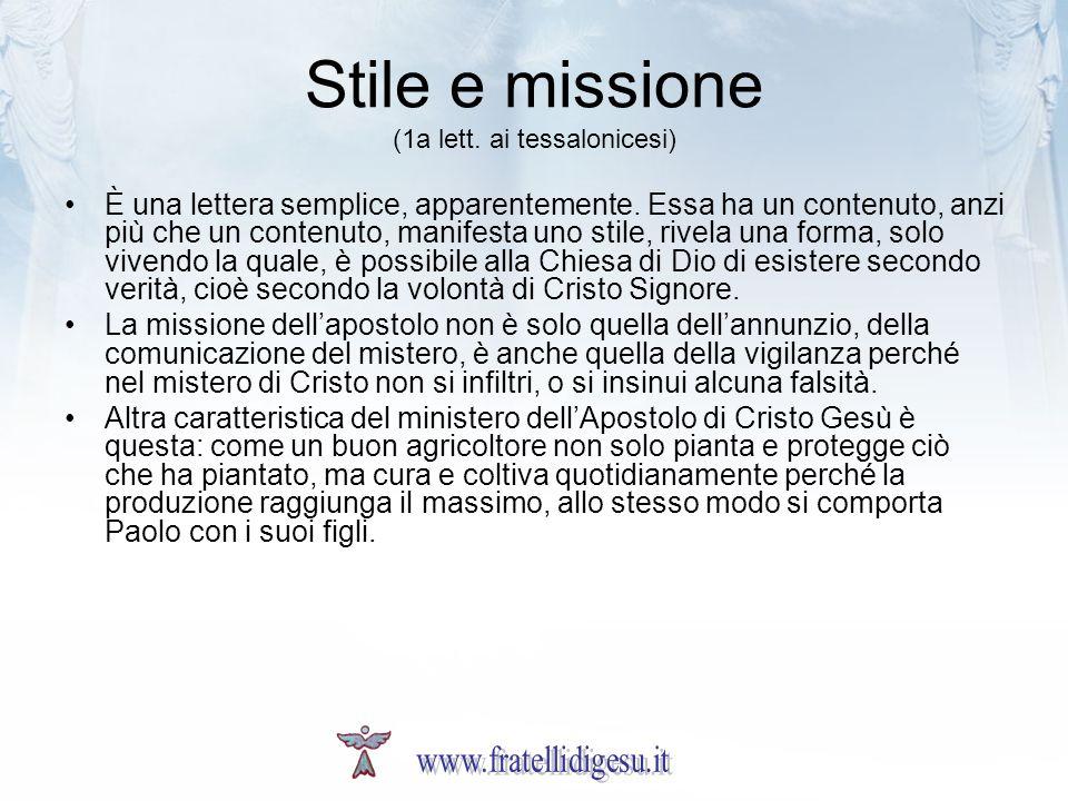 Stile e missione (1a lett. ai tessalonicesi)