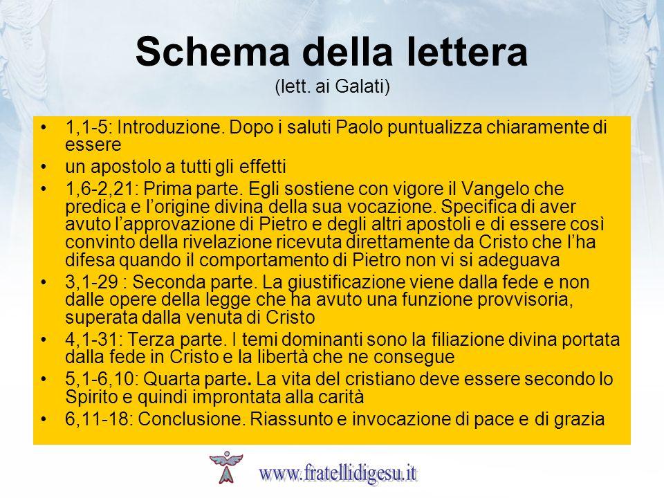Schema della lettera (lett. ai Galati)