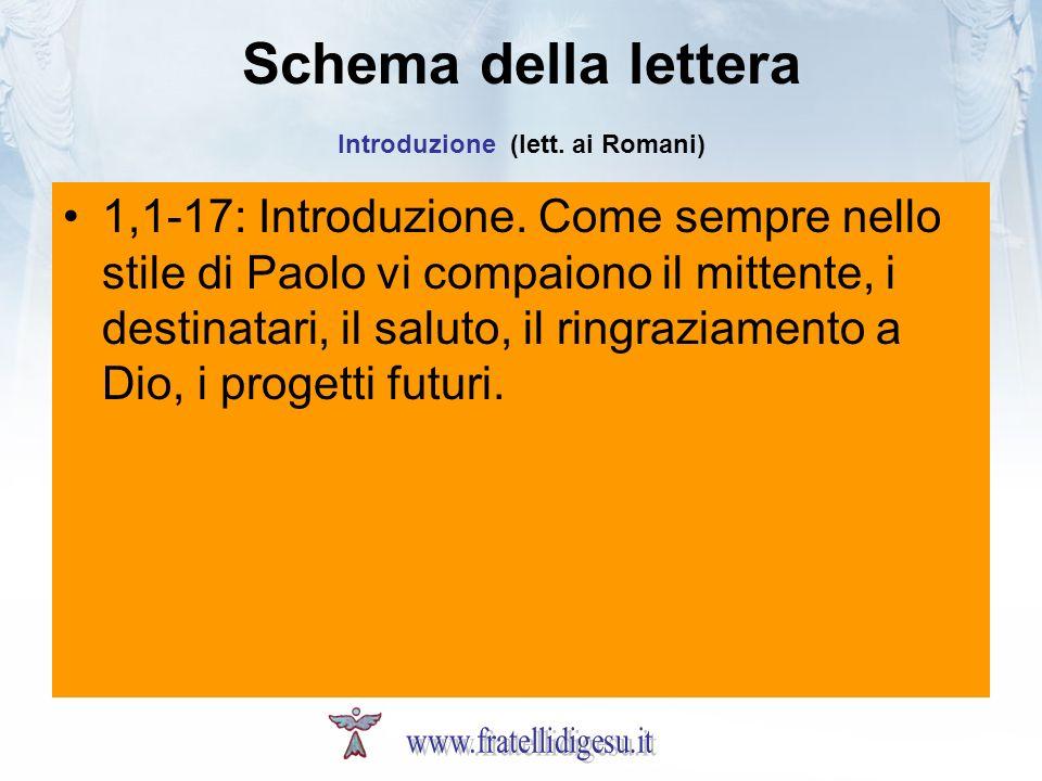 Schema della lettera Introduzione (lett. ai Romani)
