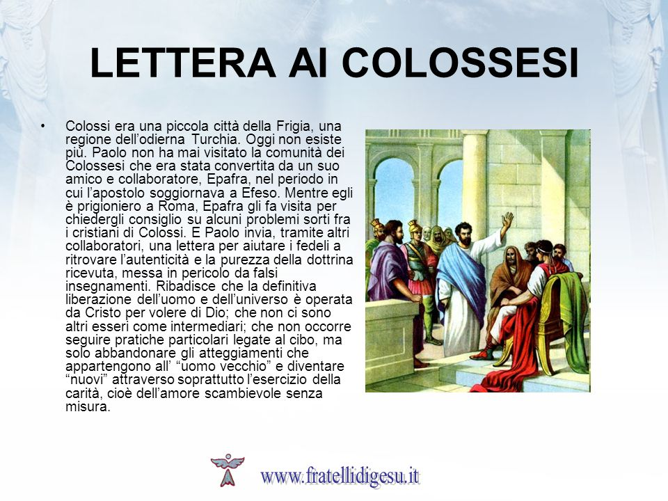 LETTERA AI COLOSSESI www.fratellidigesu.it