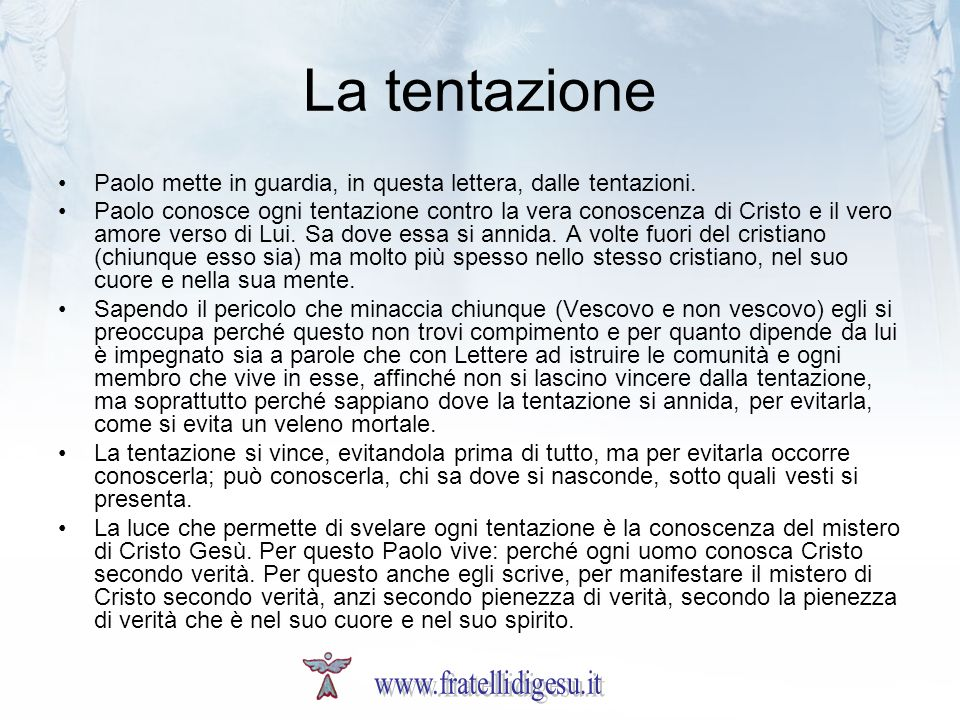 La tentazione www.fratellidigesu.it