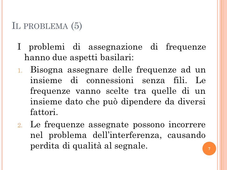 Il problema (5) I problemi di assegnazione di frequenze hanno due aspetti basilari: