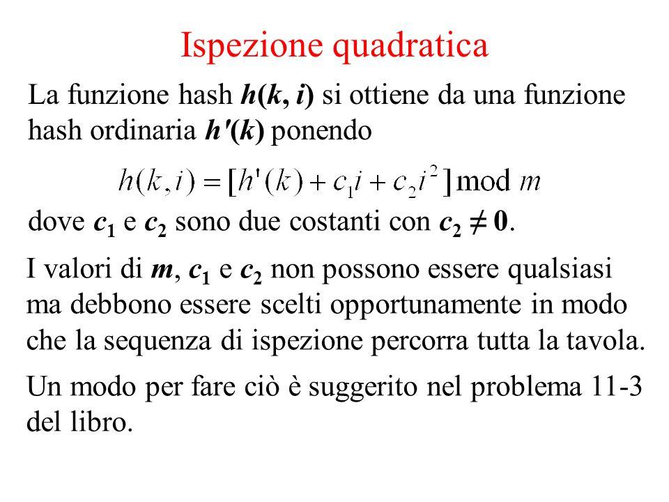 Ispezione quadratica La funzione hash h(k, i) si ottiene da una funzione hash ordinaria h (k) ponendo.
