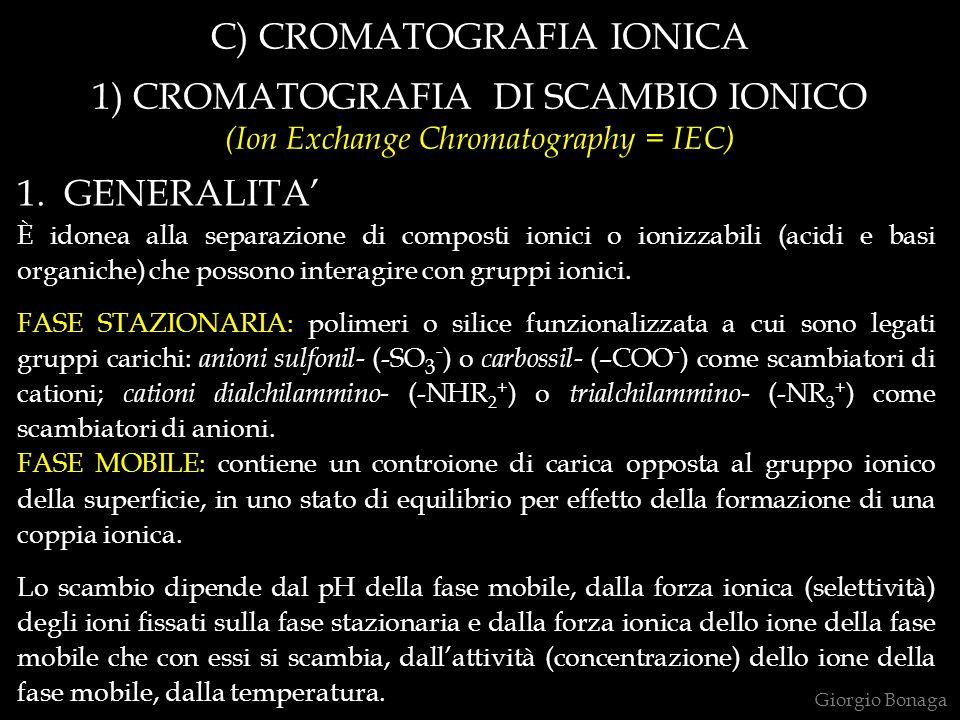C) CROMATOGRAFIA IONICA 1) CROMATOGRAFIA DI SCAMBIO IONICO