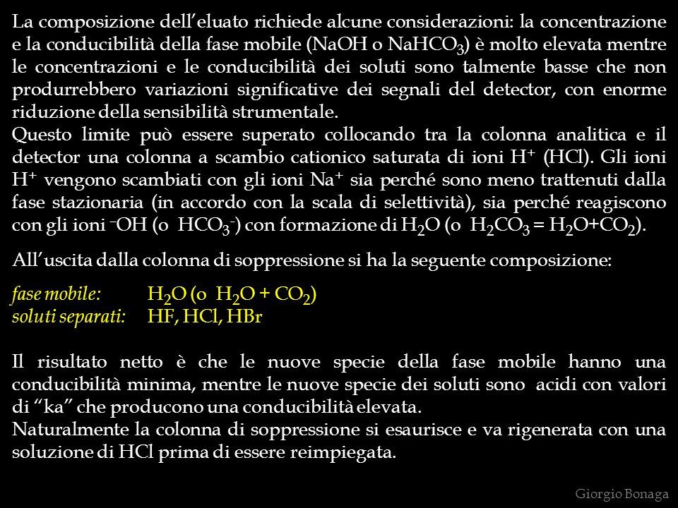 fase mobile: H2O (o H2O + CO2) soluti separati: HF, HCl, HBr