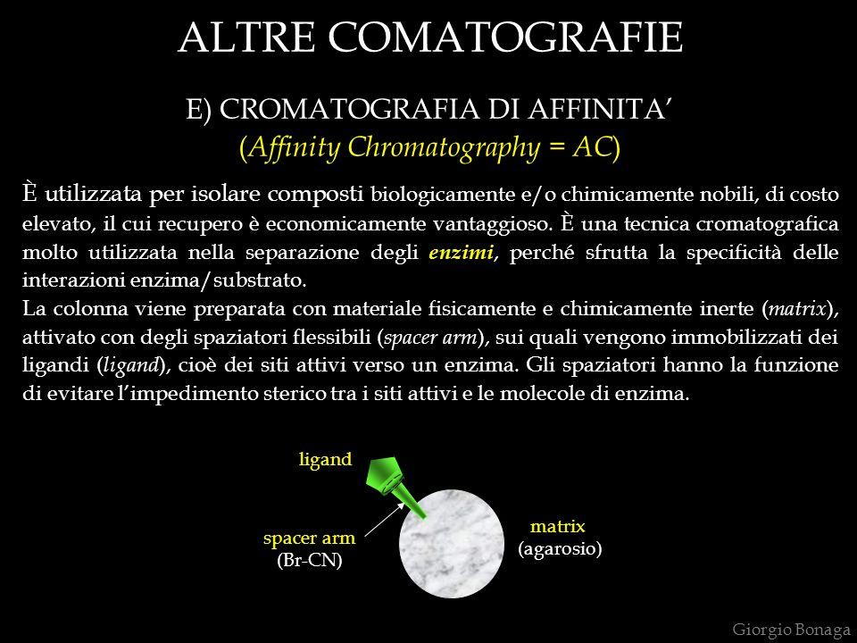 ALTRE COMATOGRAFIE E) CROMATOGRAFIA DI AFFINITA'