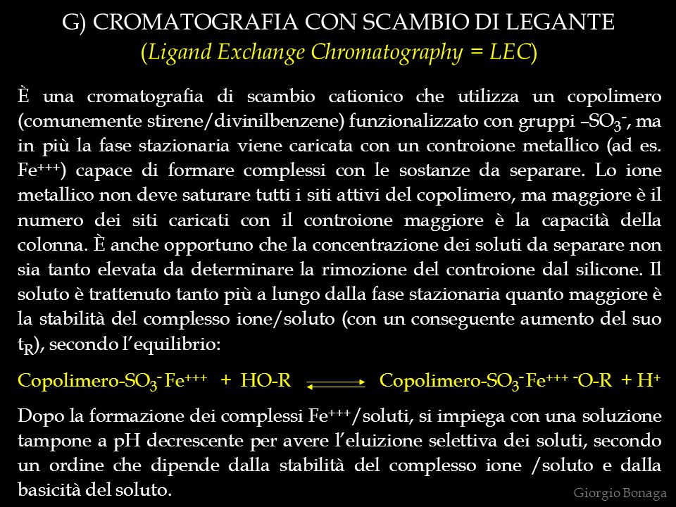 G) CROMATOGRAFIA CON SCAMBIO DI LEGANTE