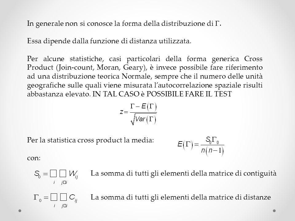 In generale non si conosce la forma della distribuzione di G.