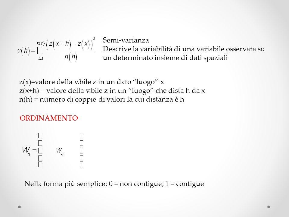 Semi-varianza Descrive la variabilità di una variabile osservata su un determinato insieme di dati spaziali.