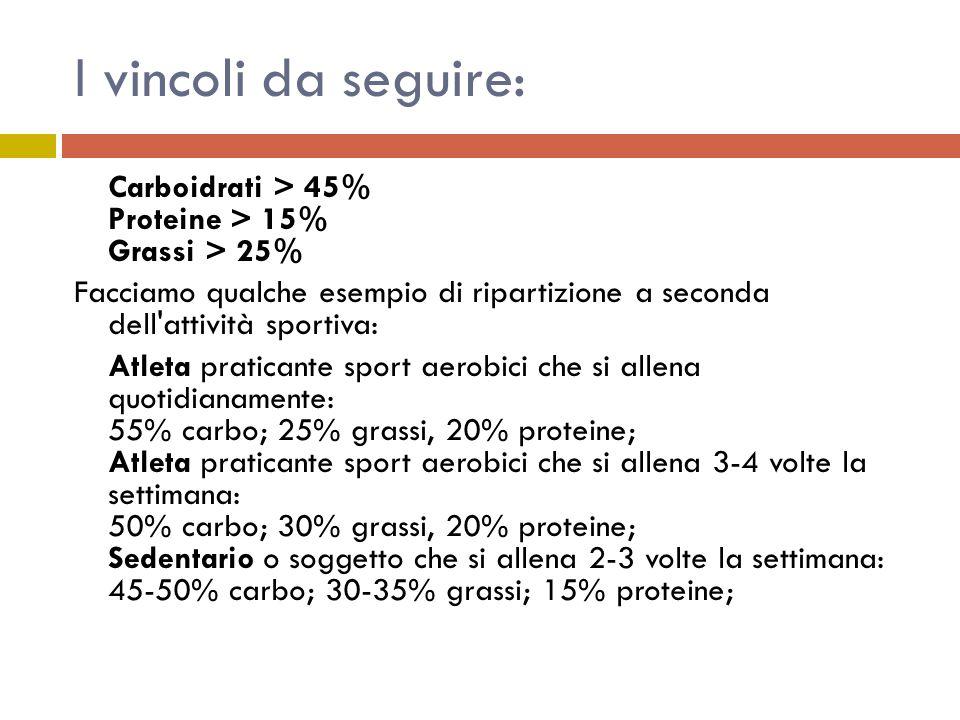 I vincoli da seguire: Carboidrati > 45% Proteine > 15% Grassi > 25% Facciamo qualche esempio di ripartizione a seconda dell attività sportiva: