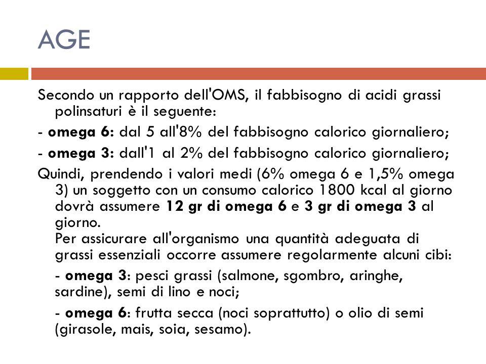 AGE Secondo un rapporto dell OMS, il fabbisogno di acidi grassi polinsaturi è il seguente: