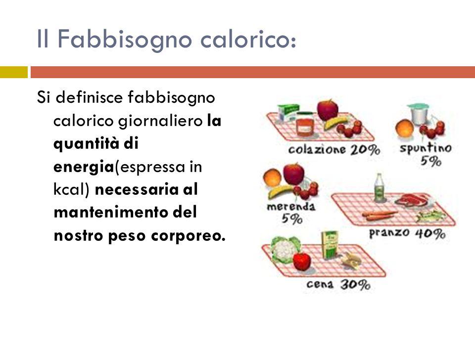Il Fabbisogno calorico: