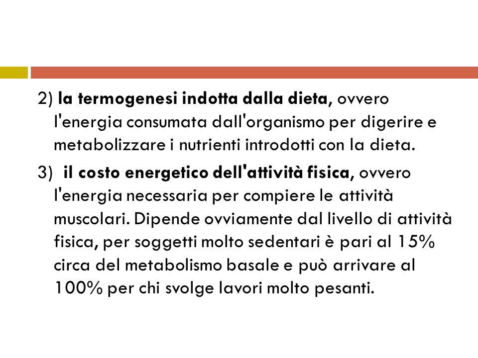 2) la termogenesi indotta dalla dieta, ovvero l energia consumata dall organismo per digerire e metabolizzare i nutrienti introdotti con la dieta.