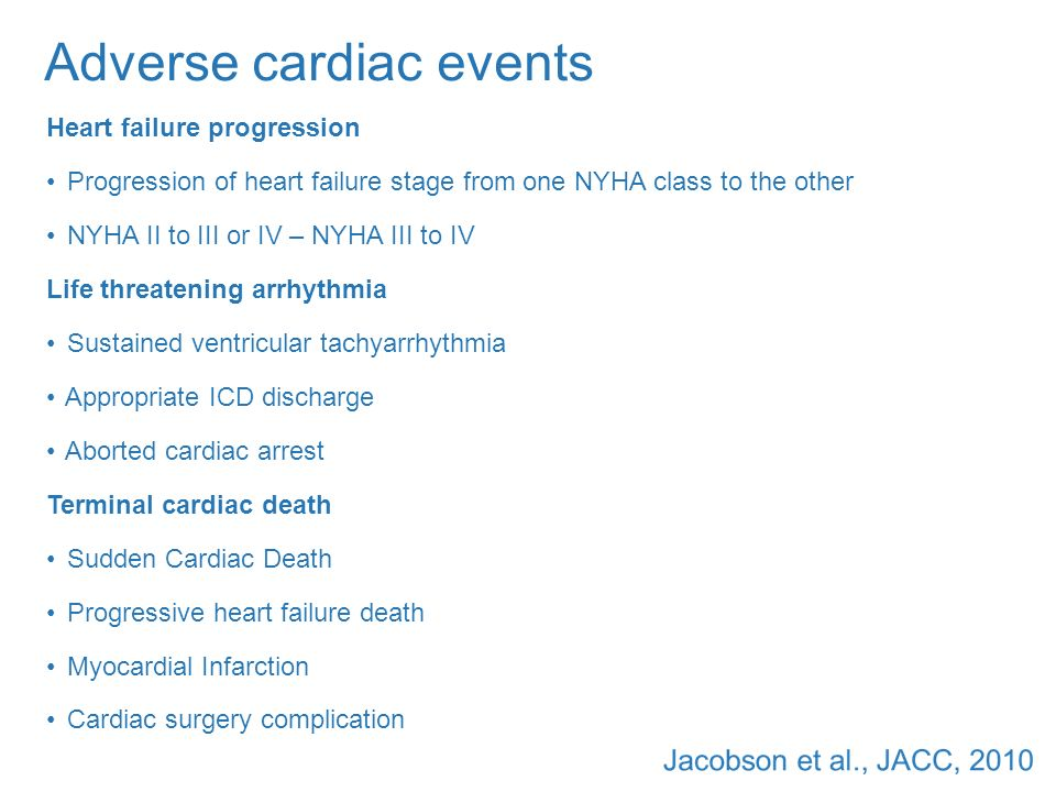 Adverse cardiac events