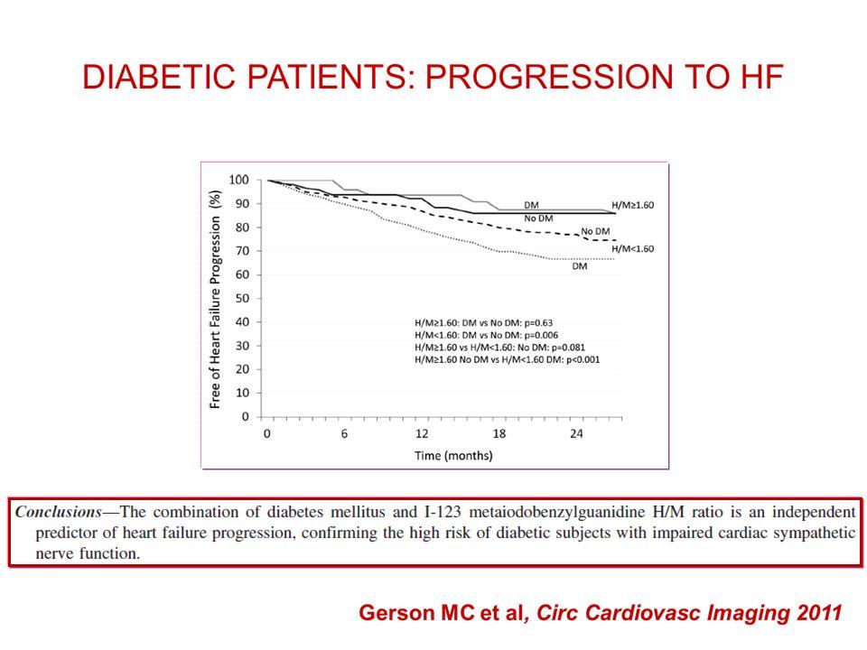 I pazienti con H/M>1,6, considerati a minor rischio, hanno avuto una prognosi migliore a 2 anni, senza significative differenze fra DM o non DM.