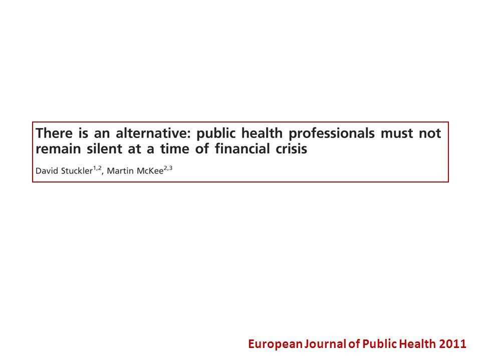 European Journal of Public Health 2011