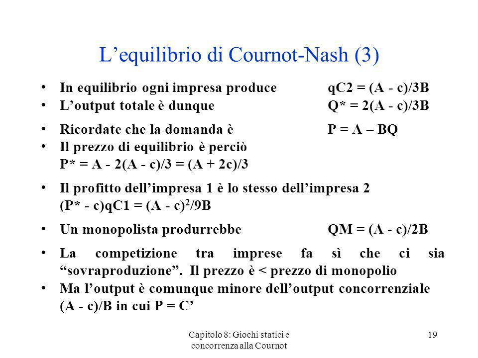 L'equilibrio di Cournot-Nash (3)