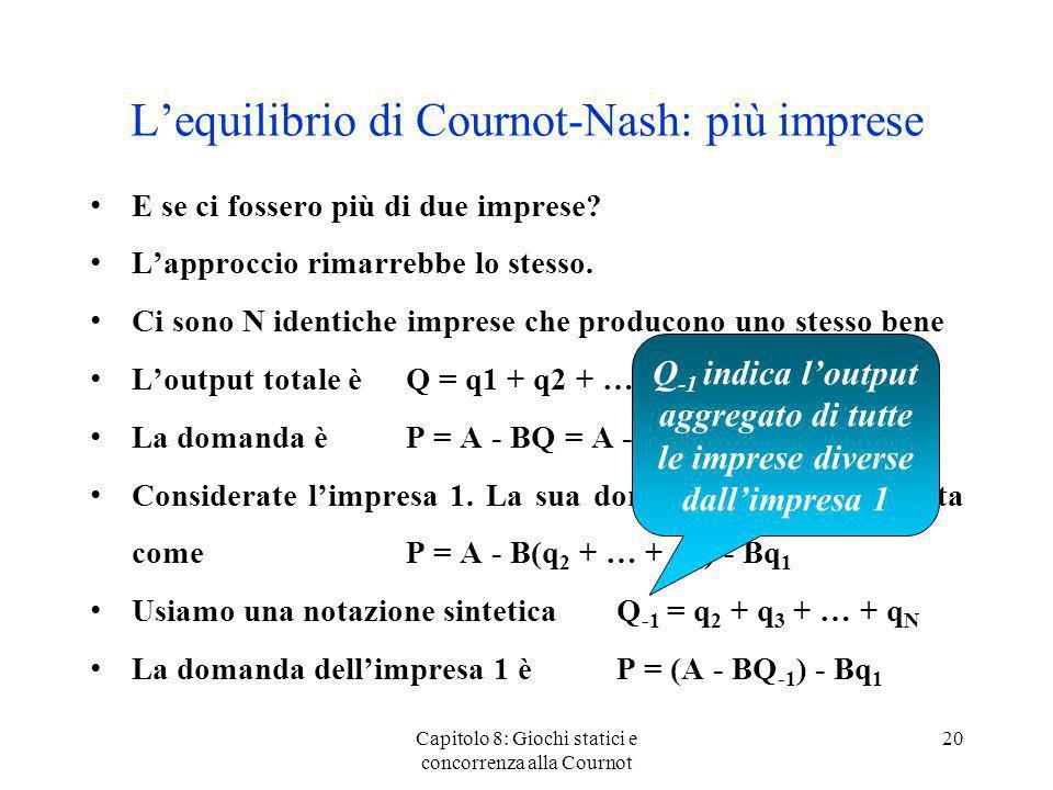 L'equilibrio di Cournot-Nash: più imprese