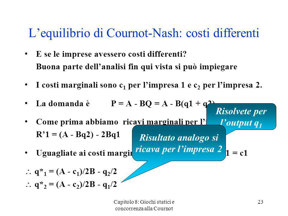 L'equilibrio di Cournot-Nash: costi differenti