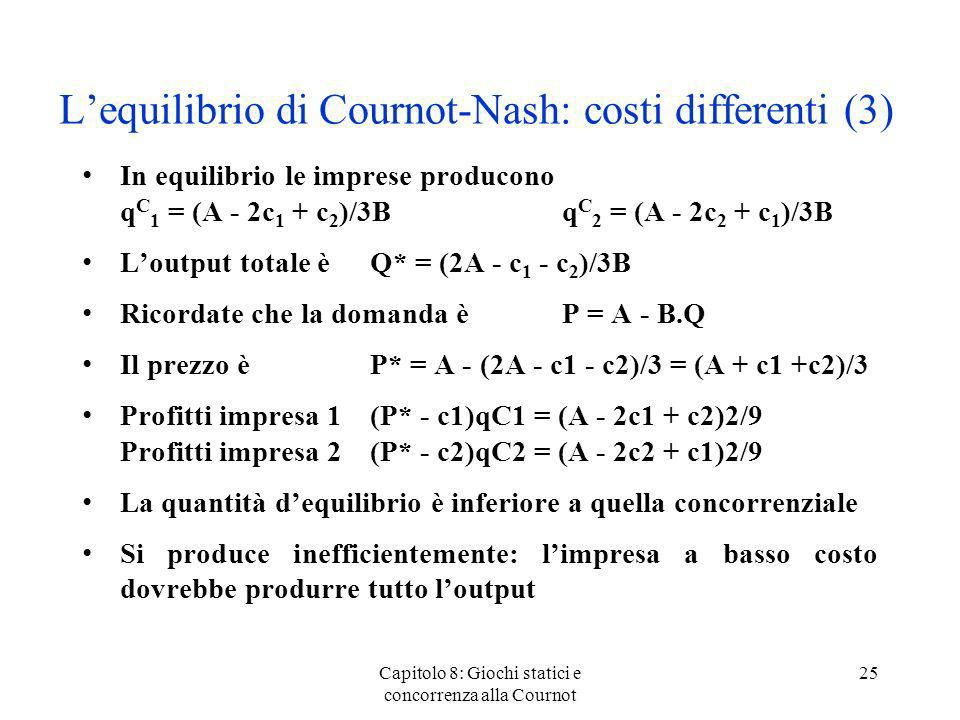 L'equilibrio di Cournot-Nash: costi differenti (3)