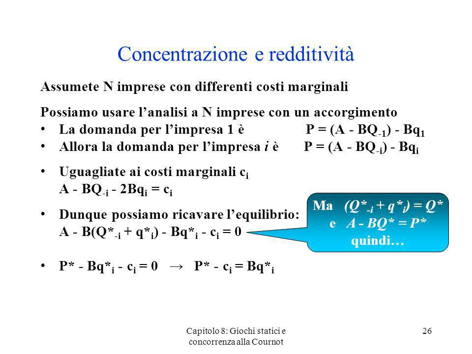 Concentrazione e redditività