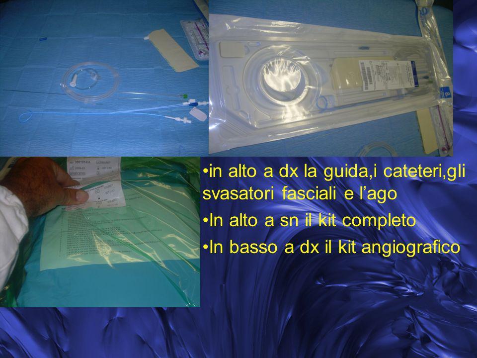 in alto a dx la guida,i cateteri,gli svasatori fasciali e l'ago