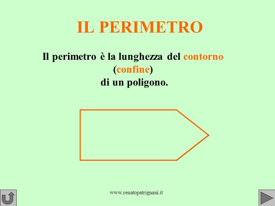 Il perimetro è la lunghezza del contorno (confine) di un poligono.