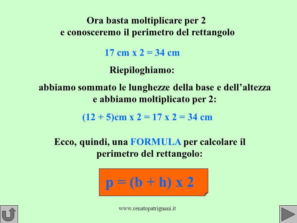 Ora basta moltiplicare per 2 e conosceremo il perimetro del rettangolo