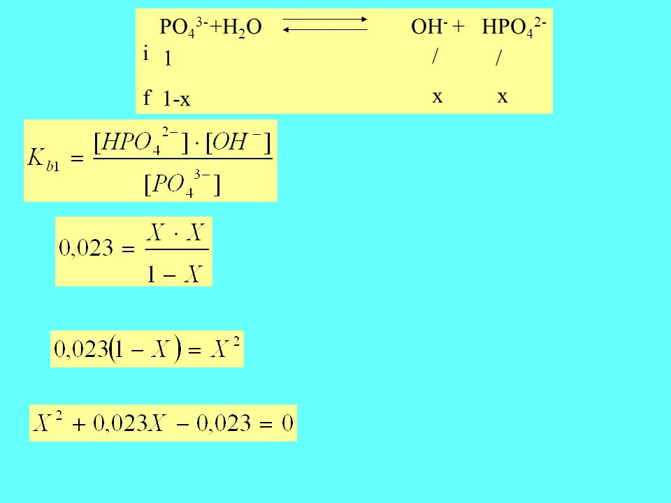 PO43- +H2O OH- + HPO42- i f 1 / / 1-x x x