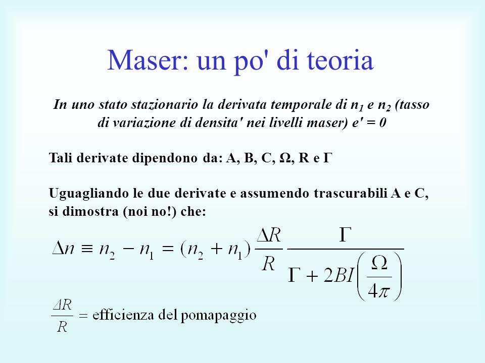 Maser: un po di teoria In uno stato stazionario la derivata temporale di n1 e n2 (tasso di variazione di densita nei livelli maser) e = 0.