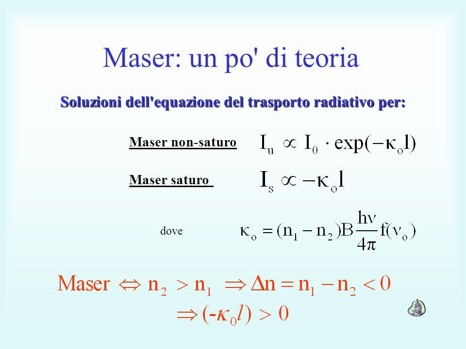 Soluzioni dell equazione del trasporto radiativo per: