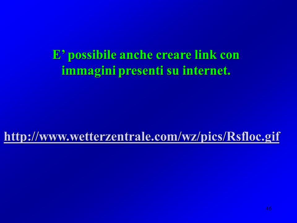 E' possibile anche creare link con immagini presenti su internet.