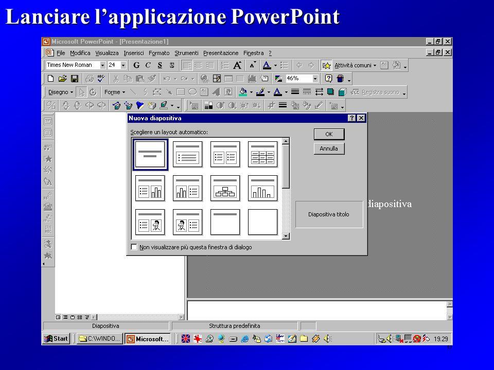 Lanciare l'applicazione PowerPoint