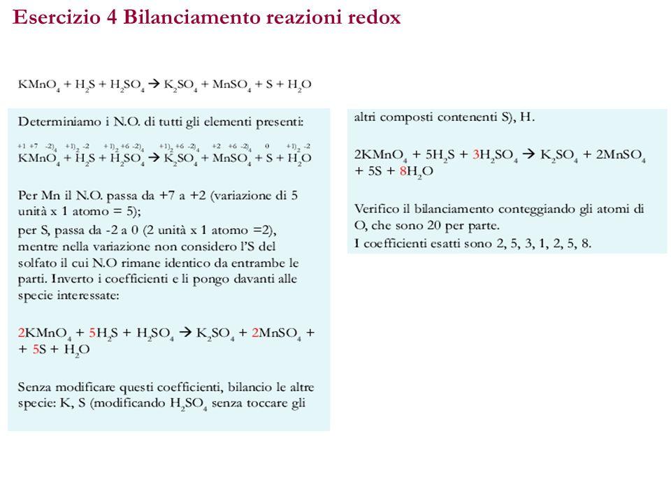 Esercizio 4 Bilanciamento reazioni redox