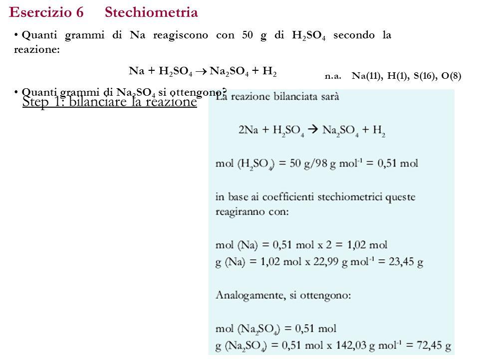 Esercizio 6 Stechiometria