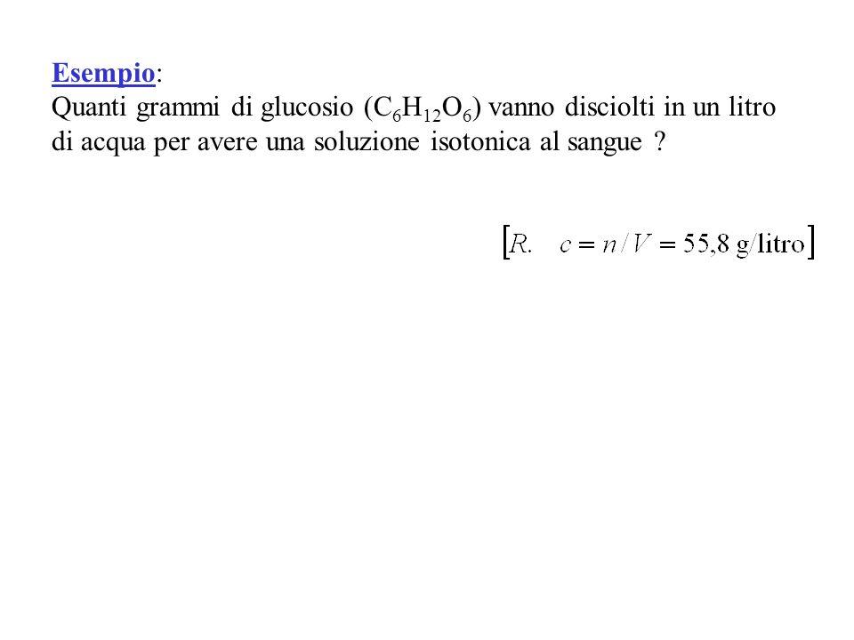 Esempio: Quanti grammi di glucosio (C6H12O6) vanno disciolti in un litro di acqua per avere una soluzione isotonica al sangue