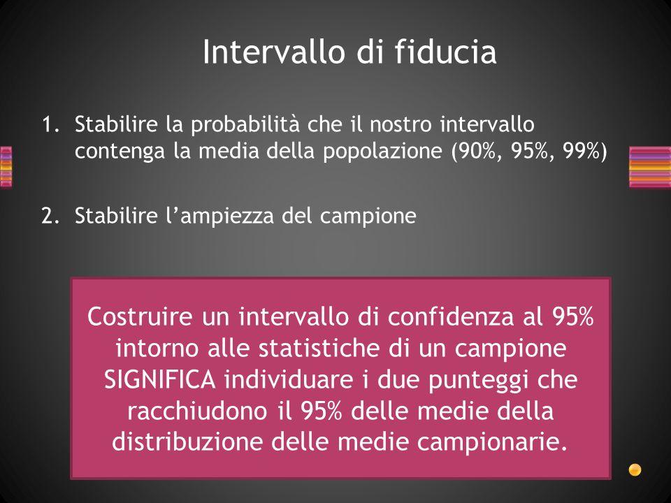 Intervallo di fiduciaStabilire la probabilità che il nostro intervallo contenga la media della popolazione (90%, 95%, 99%)